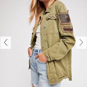 Free people embellished military shirt jacket S